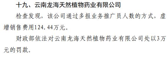 """云南龙海天然植物药业""""虚增销售费用124.44万元""""被罚3万元"""