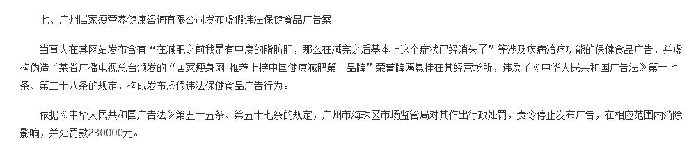 广州居家瘦营养健康咨询公司发布保健食品违法广告被罚23万